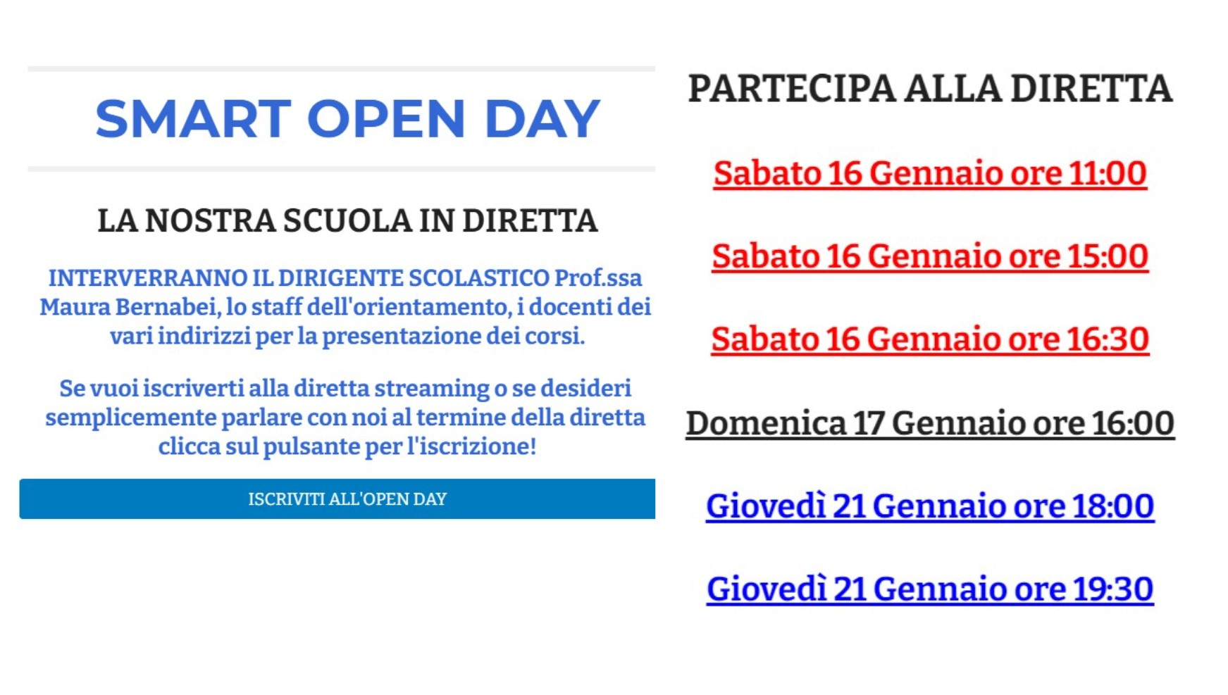 OPEN DAY 20/21 dirette